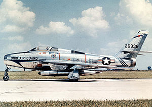 166th Air Refueling Squadron - Former Ohio 166th TFS Republic F-84F-40-RE Thunderstreak, Serial 52-6526.  Today, this aircraft is on permanent exhibit at the Museum of the United States Air Force Wright-Patterson AFB, Ohio