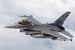 English: Swamp Fox in flight. F-16 pilot from ...