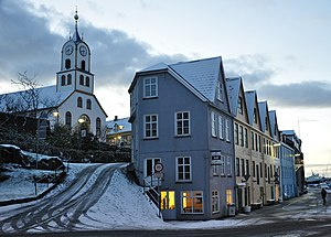 Tórshavn - Tórshavn Cathedral and Bryggjubakki street (left) and Undir Bryggjubakka street (right) at the centre of the city
