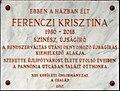 Ferenczi Krisztina plaque (Budapest-13 Pannónia u 15).jpg