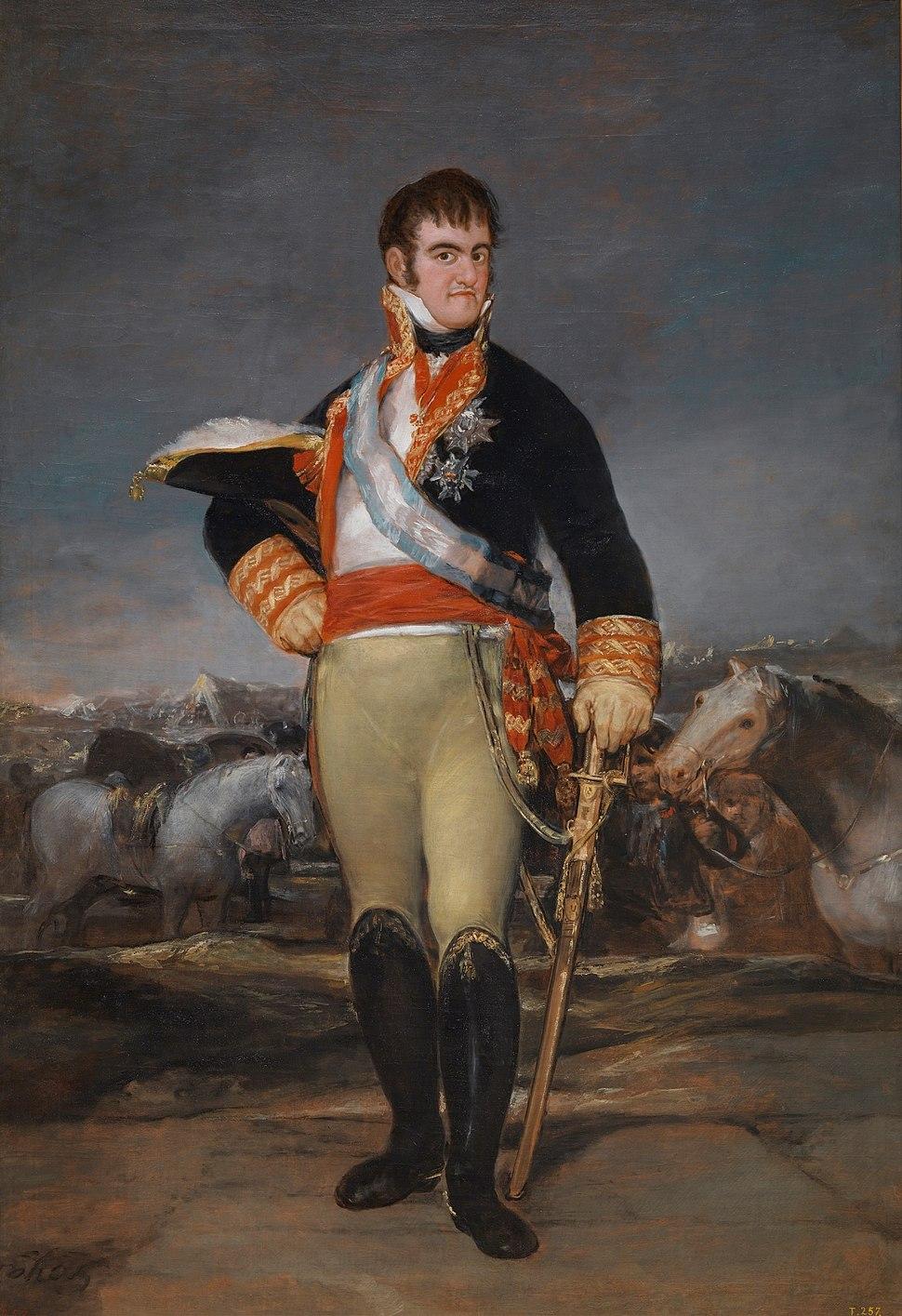 Fernando VII en un campamento, por Goya