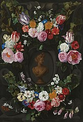 Festoon of flowers encircling a bust of Flora