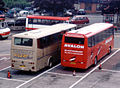 Filers coach (K332 YDW) & Avalon coach (X584 BYD), Bretonside bus station, Plymouth, 2001.jpg