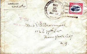 "Airmails of the United States - Cover flown on the first day of scheduled Air Mail Service in the U.S. and franked with the first U.S. Air Mail stamp, the 24 Cent ""Jenny""(C-3). Cancel: ""AIR MAIL SERVICE – WASH. N.Y. PHILA."" ""MAY 15, 1918 – FIRST TRIP"" ""PHILA."" (Type: USPOD CDS w/killer bars)"