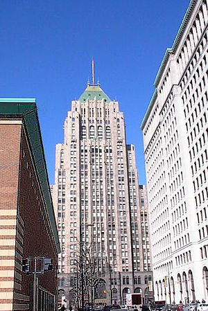 WJR - The Fisher Building, a National Historic site in the City's New Center area, is home to the Fisher Theatre, with the WJR radio antenna