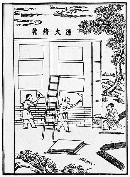 File:Five Steps of Papermaking - Step 5 - Drying the Sheets of Paper on a Wall - As described by Cai Lun in 105 CE.jpg
