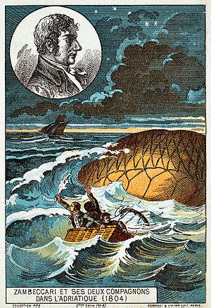 Francesco Zambeccari - Zambeccari and his two companions in the Adriatic (1804), early flight collecting card, ca. 1895