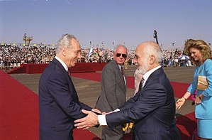 Israel–Jordan peace treaty - Shimon Peres (left) with Yitzhak Rabin (center) and King Hussein of Jordan (right), prior to signing the Israel–Jordan peace treaty.