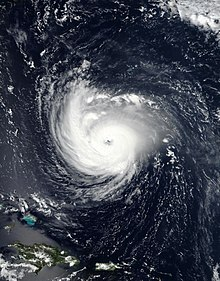 A visible satellite imagery of an exceptionally well-defined and intense hurricane on September 11