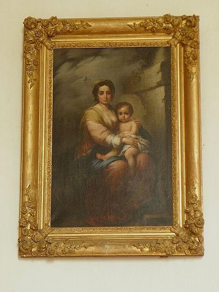 Église Sainte-Marie-Madeleine de Forcé (53). Tableau de la Vierge à l'Enfant.