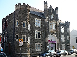 Lower Dock Street drill hall, Newport Grade II listed building in Newport City. Between Caroline Street and Cross Lane.