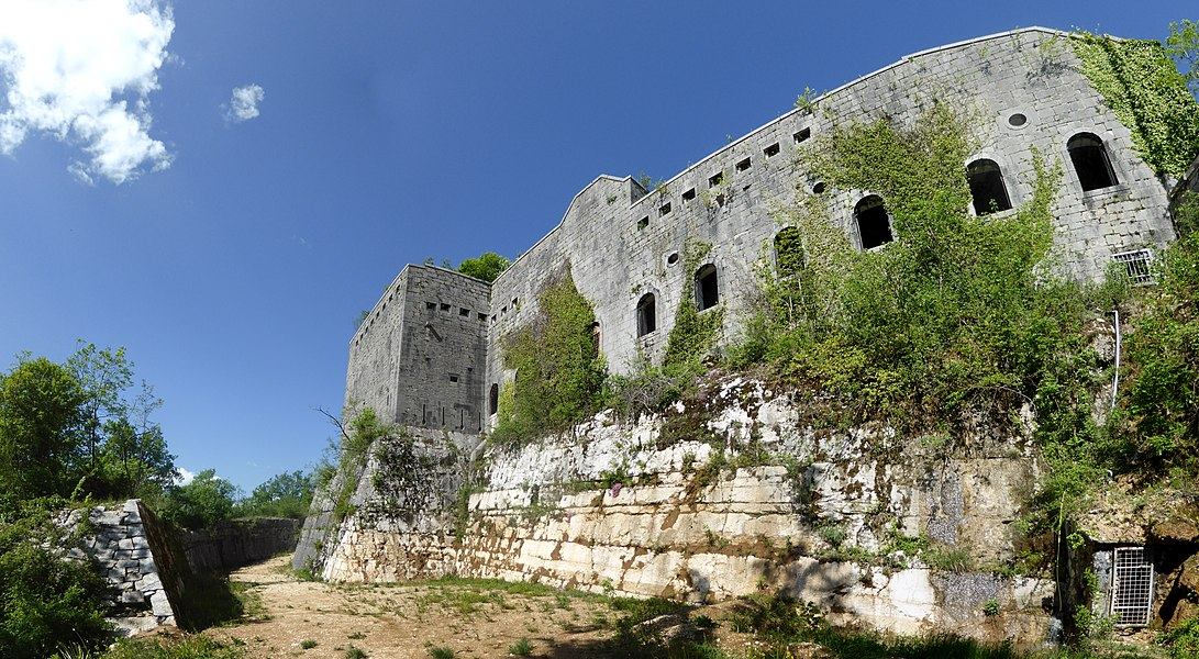 Dry moat and wall of the former fortress of Fort-les-Bancs, Virignin, Savoie, Rhône-Alpes, France.