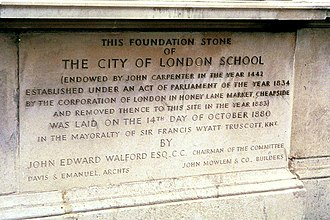 City of London School - Foundation Stone of the City of London School