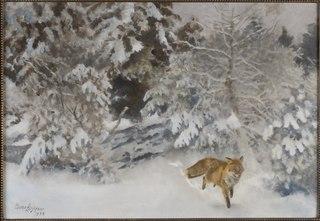 Fox in Winter Landscape