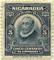 Selo retratando Francisco Hernandez de Cordoba, editado na  Nicar�gua.