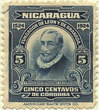 Francisco Hernández de Córdoba (founder of Nicaragua) - Francisco Hernandez de Cordoba Nicaraguan Postage, 1924