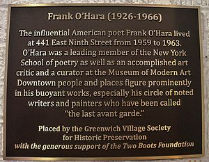 Frank O'Hara - Historic Plaque at 441 East 9th Street where Frank O'Hara lived unveiled by Greenwich Village Society for Historic Preservation on June 10, 2014.