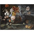 Franz Werner von Tamm - Still Life of Roses, Morning Glory, Carnations, Forget-Me-Nots and Other Flowers on a Stone Ledge, Together with a Bunch of Peaches.jpg