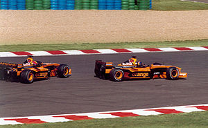 Enrique Bernoldi - Bernoldi follows Arrows teammate Heinz-Harald Frentzen at the 2002 French Grand Prix.