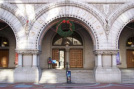 Front entrance of Old Post Office, decorated for Christmas