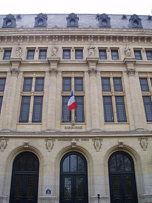 College of Sorbonne - Facade of the new Sorbonne building (1889).