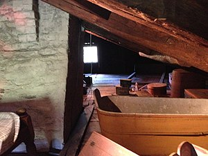 Little Women - The attic at Fruitlands where Alcott lived and acted out plays at 11 years old. Note that the ceiling area is around 4 feet high