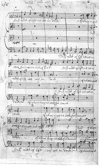 Funeral Sentences and Music for the Funeral of Queen Mary - Autograph manuscript of the second Funeral Sentence, British Library