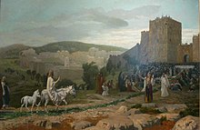 Jesus, riding a donkey colt, rides towards Jerusalem. A large crowd greets him outside the walls.