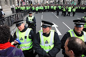 Lines of police, including British Transport P...