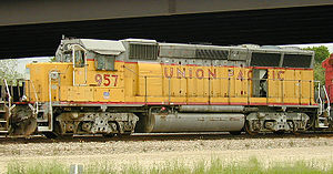 EMD GP40X - UP 957 was originally UP 9003. This shows the optional HT-B trucks.