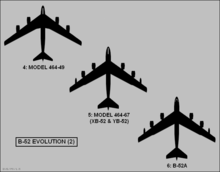 Three early proposals of the B-52's planform shapes. Largely similar, except for slight differences in fuselage and placement of fuel tanks.