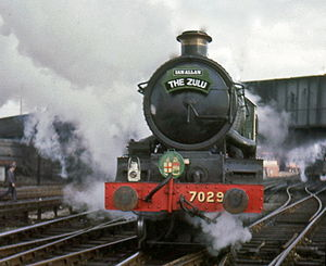 "GWR 4073 Class 7029 Clun Castle - GWR 7029 Clun Castle at Chester General station, about to take the southbound ""Zulu"" special to Birmingham Snow Hill, 4 March 1967"