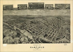 Garfield, New Jersey - Bird's-eye view of Garfield New Jersey, image from memory.loc.gov