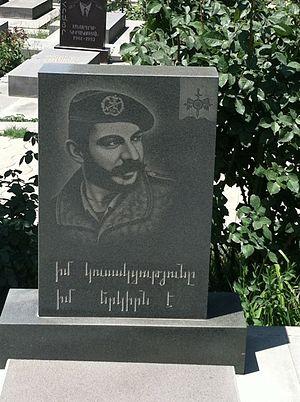 "Garo Kahkejian - The grave of Garo ""the White Bear"" at Yerablur cemetery"
