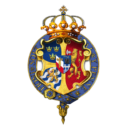 Arms of Oscar II, King of Sweden and Norway, as displayed on his Garter stall plate in St George's Chapel Garter encircled arms of Oscar II, King of Sweden and Norway.png