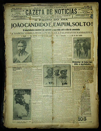 João Cândido Felisberto - Newspaper headlines from Gazeta de Notícias, 31 December 1912.