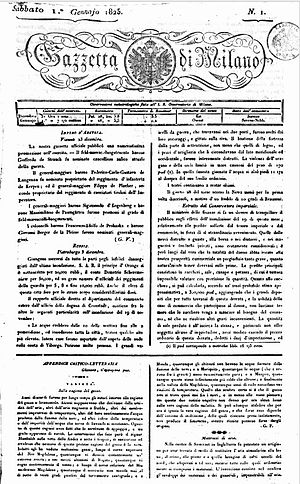 Gazzetta di Milano - Front page of the 1 January 1825 edition