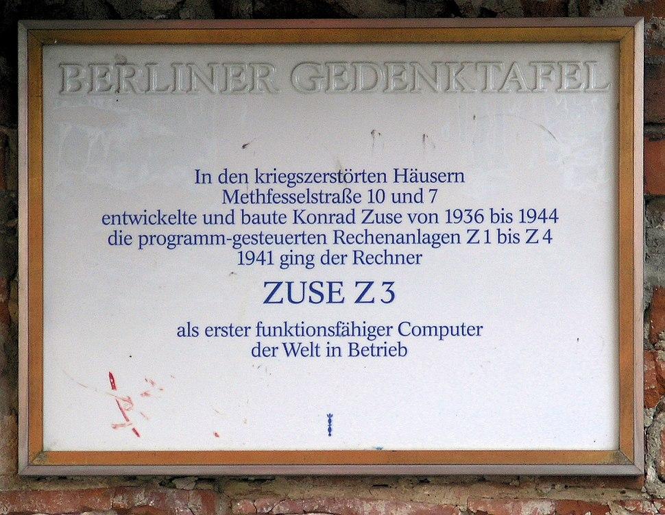 Gedenktafel Methfesselstr 10 (Kreuzb) Konrad Zuse