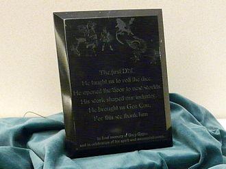 Gary Gygax - Image: Gen Con Indy 2008 Gary Gygax memorials 04