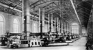 Bâtiment des Forces motrices - Interior of the powerhouse with the pumps.