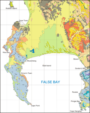 Marine geology of the Cape Peninsula and False Bay - Geological map of the Cape Peninsula and False Bay