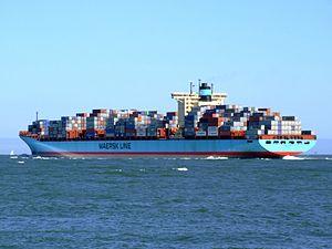 Georg Maersk p08, leaving Port of Rotterdam, Holland 04-Aug-2007.jpg