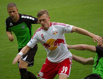 RB Leipzig - Georg Teigl playing a match for FC Red Bull Salzburg in May 2013.