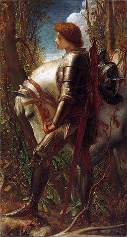 George Frederick Watts, 1860-62, Sir Galahad, oil on canvas, 191.8 x 107 cm, Harvard Art Museums, Fogg Museum