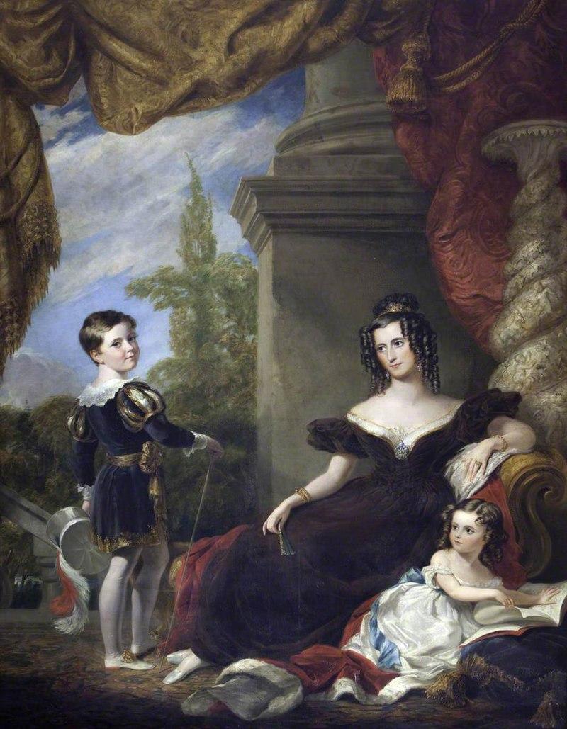 Джордж Хейтер (1792-1871) - Луиза Барбара Кэтрин Филипс (c.1800–1879), графиня Личфилд, с двумя своими детьми, Тхо - 1271036 - National Trust.jpg