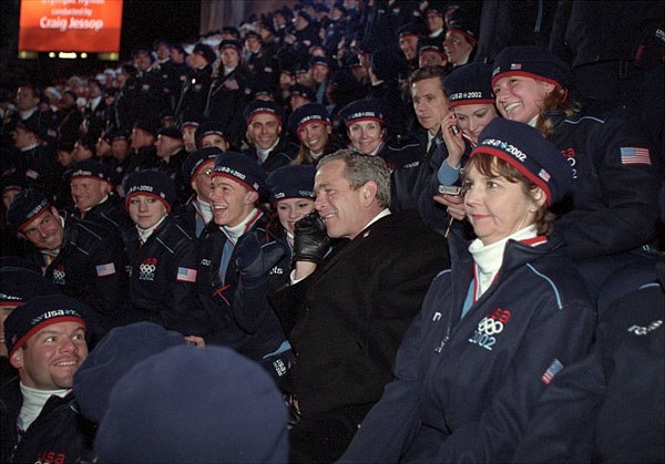 George W. Bush with US Olympic Team at 2002 Winter Olympics opening ceremony