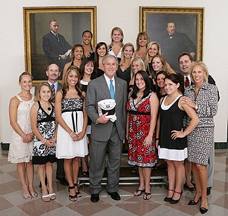 Georgia Gymdogs - The 2008 Gym Dogs, including individual apparatus national champions Courtney McCool and Grace Taylor, are honored at the White House by President of the United States George W. Bush in June 2008 for their winning the National Collegiate Athletic Association Division I team championship.