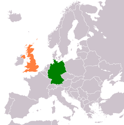 Map indicating locations of Germany and United Kingdom