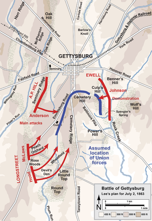 Battle of Gettysburg, Second Day - Lee's plan for July 2