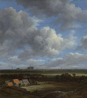 View of Haarlem from the Northwest, with the Bleaching Fields in the Foreground - Image: Gezicht op Haarlem uit het noordwesten, met de blekerijen op de voorgrond Rijksmuseum SK A 351